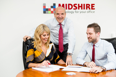 Midshire Group Marketing Manager Adrienne Topping, Managing Director Julian Stafford, and Sales Manager Nick Rose