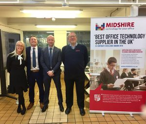 Dawn Halliwell, James Hall, Richard Salter, and Richard Flynn at the MMU Print Technology Open Day Midshire Exhibit