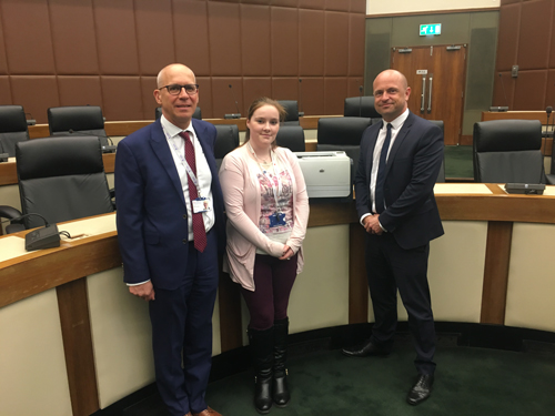 Account Manager James Belcher stood with Elise Ross and Simon Russell from the Solihull Council