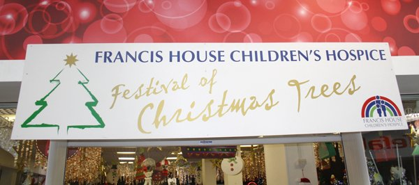 Francis House Festival of Christmas Trees signage
