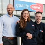Managing Director of Quality Save Ric Rudkin with two employees outside the Walkden store