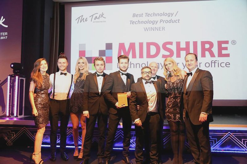 Group shot of Midshire winning at the Talk of Manchester Awards