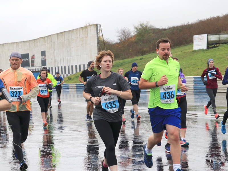Sarah and Chris Powell running