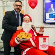 Santa and stuart carruthers at the Midshire Red Breakfast