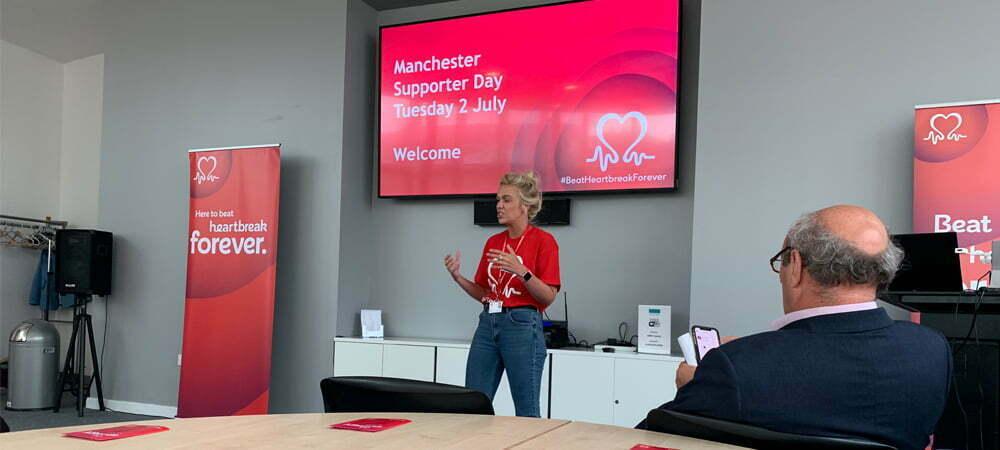 British Heart Foundation fundraiser giving a talk